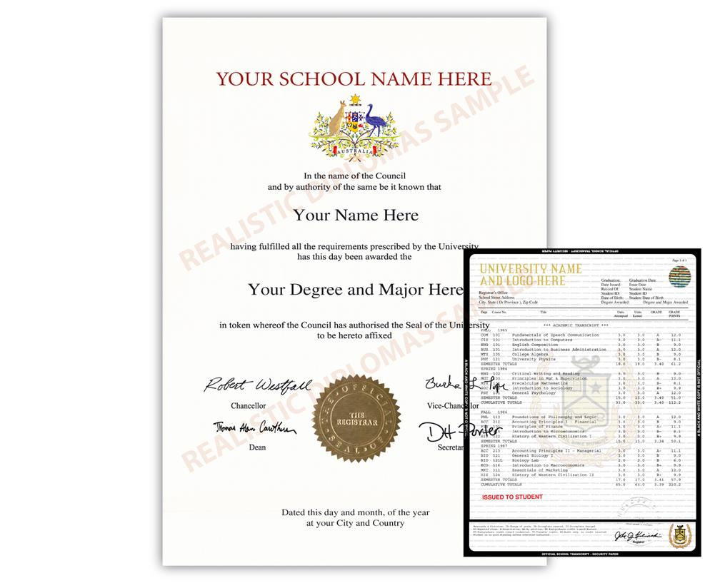 Fake College & University Diploma and Transcript: Australia Design 1 FAKE-COLLEGE-UNIVERSITY-DIPLOMA-TRANSCRIPT-AUS1