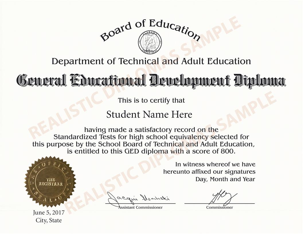 a Personalized General Education Diploma Ged Certificate ...  Replica Ged Certificate