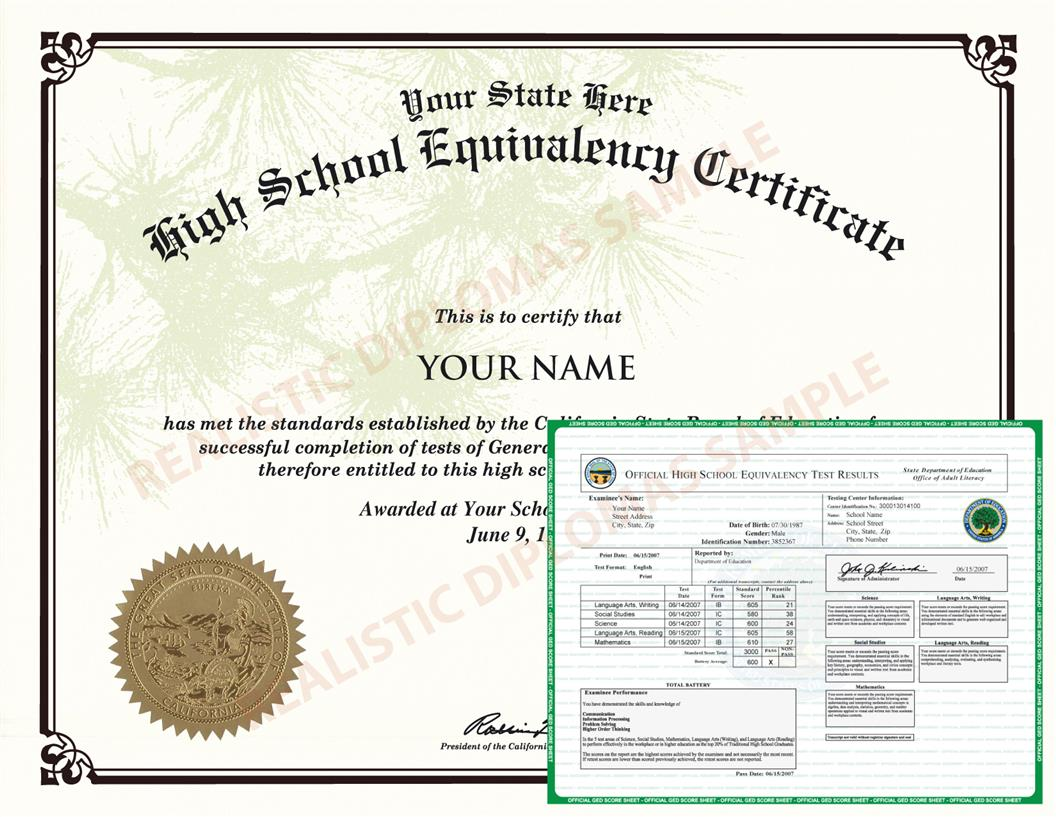 Fake Ged Diploma And Transcripts Score Sheets Realistic Diplomas
