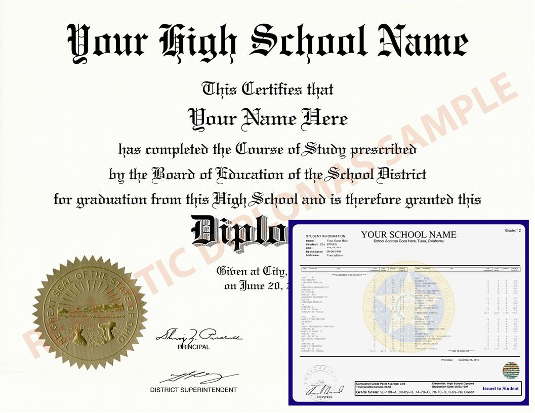 Fake High School Diploma and Transcripts Design 2 HSDT Design 2