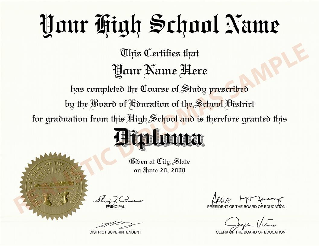 replacement and novelty fake high school diploma