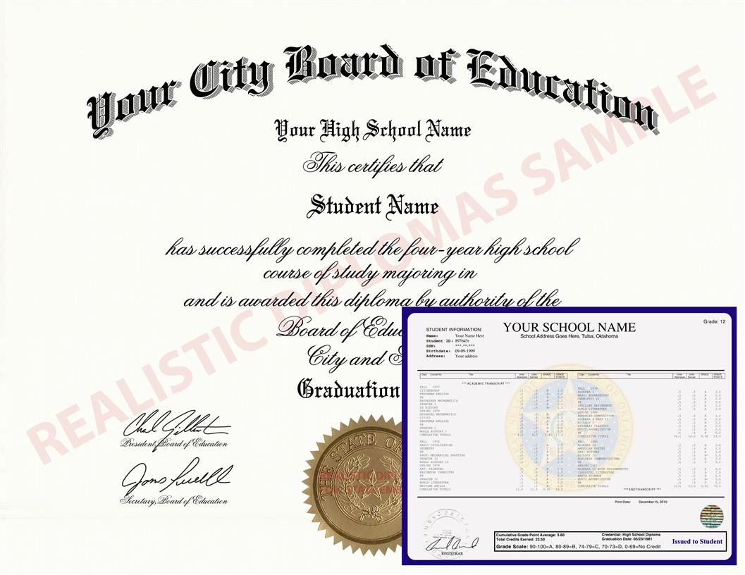 Fake High School Diploma and Transcripts Design 5 HSDT Design 5