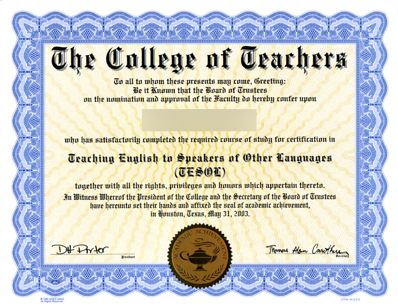 fake certificate tesol any school